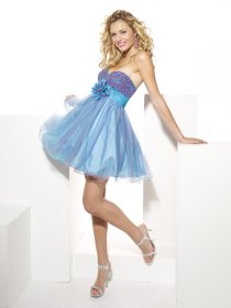 A-line Sweetheart Beading Organza&Satin Cute Graduation Dress