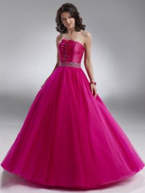 Ball Gown Strapless Satin & Organza Ruffle Engagement Dress