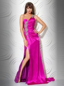 Elegant Sheath One-shoulder Appliques Satin Evening Dress