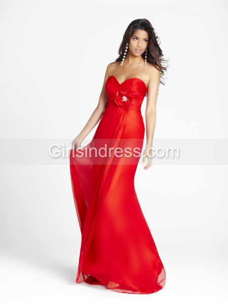 Elegant Sweetheart Flower Chiffon Floor-length Prom Dress