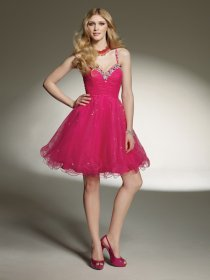 Lovely Spaghetti Straps Beading Short Organza Graduation Dress