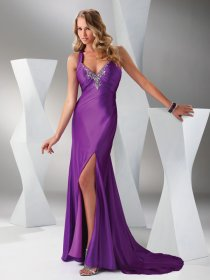 Purple Satin Sweetheart Front Open Desgin Sweeping Prom Dress