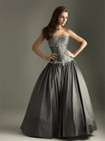 Satin Strapless Beaded Prom Dress