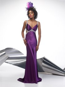 Sheath Straps Beading Satin Prom Dress