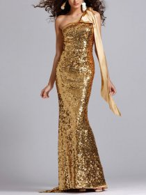 Shiny Golden Sheath Sequins One Shoulder Evening Dress