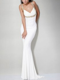 Sweetheart Jewel Sheath Halter Satin Evening Dress