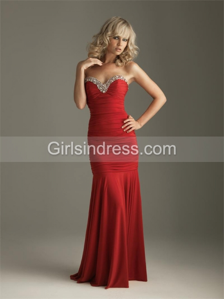 Sweetheart Strapless Satin Floor-length Evening Dress