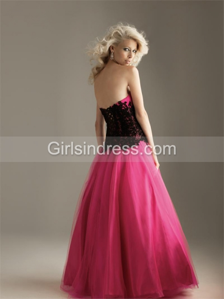 Tulle & Satin Sweetheart Strapless Prom Dress