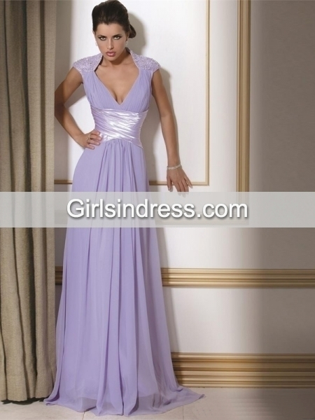 Elegant V-neck Beading Sweeping Chiffon A-line Evening Dress