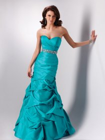 A-line Sweetheart Cascading Ruffle Beaded Satin Prom Dress