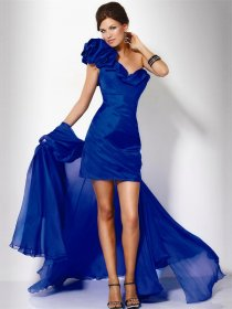 One-Shoulder Blue Pleated Satin Short/Mini Cocktail Dress
