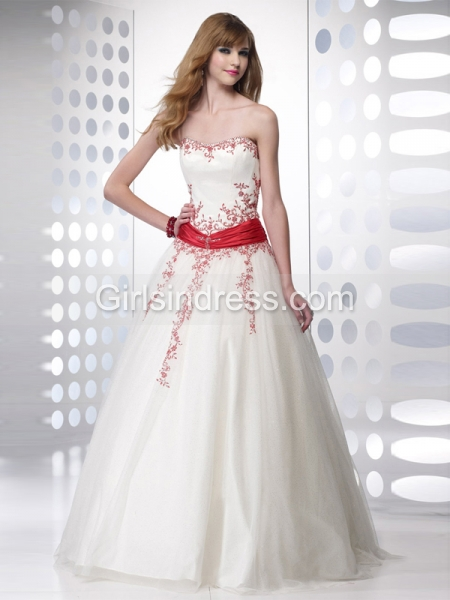 A-line Sweetheart Beading Organza Engagement Dress