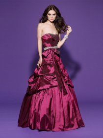 A-line Sweetheart Beading Satin Prom Dress
