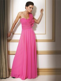 Attractive A-line One-shoulder Flowers Chiffon Evening Dress