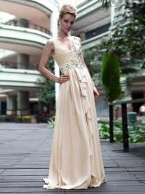 Chic A-line Straps V-neck Sequins Satin Evening Dress