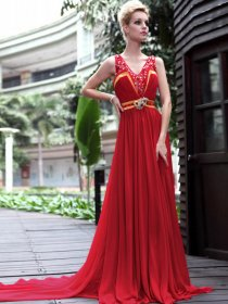 Chiffon A-line Straps V-neck Crystal Detailed Floor Length Evening Dress