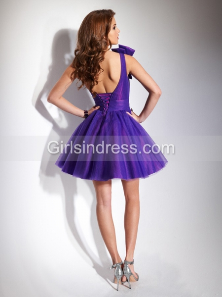 Cute One-shoulder Satin Organza Bow Beading Graduation Dress