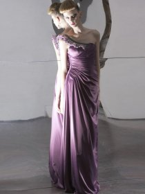 Elegant A-line Beading One-shoulder Satin Evening Dress