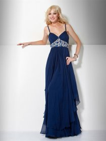 Elegant A-line Spaghetti Straps Beading Chiffon Evening Dress