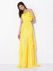 Elegant A-line Sweetheart Flowers Chiffon Prom Dress