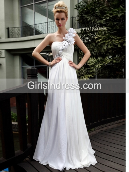 Fabulous A-line One Shoulder Satin Flower Beaded Evening Dress