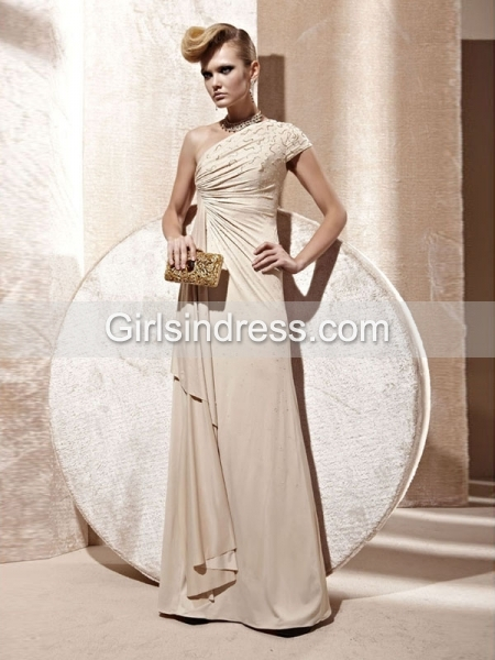 One Shoulder Satin Floor Length Prom Dress