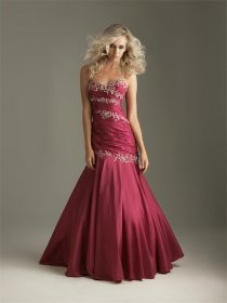 Satin Mermaid Sweetheart Embroidery Evening Dress
