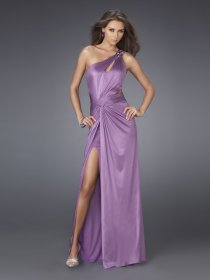 Sexy A-line Front Furcal Backless Satin Evening Dress/Gown