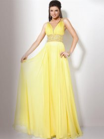 Sexy A-line Straps Beading Chiffon Evening Dress