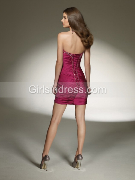 Sheath/Column Beading Strapless Satin Cocktail Dress