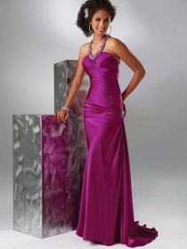 Sheath/Column Jewel Beading Satin Evening Dress