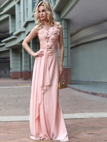 Sheath/Column One Shoulder Satin Flowers Beaded Evening Dress