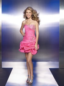 Sheath/Column Strapless Beading Cascading Ruffle Satin Homecoming Dress