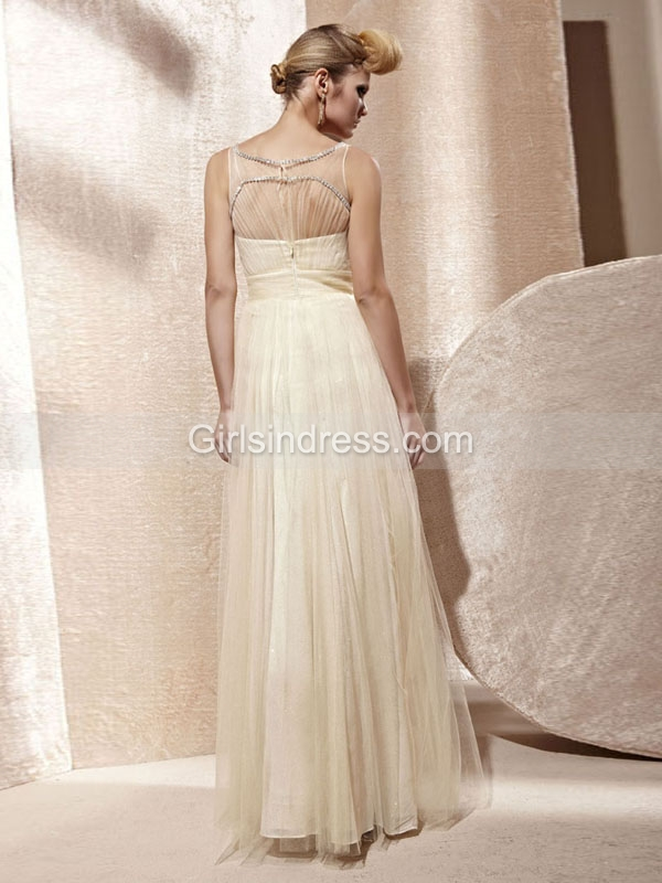 Sleeveless A-line Crystals Chiffon Organza Prom Dress