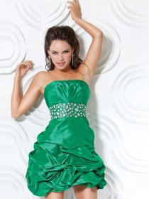 Strapless Beading A-line Satin Short/Mini Cocktail Dress