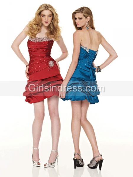 Sheath/Column Lace-up Strapless Satin Beading Cocktail Dress