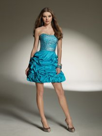 A-line Cascading Ruffle Strapless Beading Satin HomeComing Dress