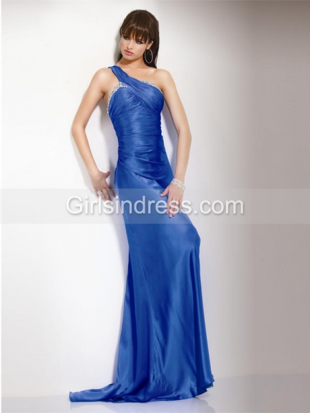 Elegant One-shoulder Beading Sheath Satin Prom Dress