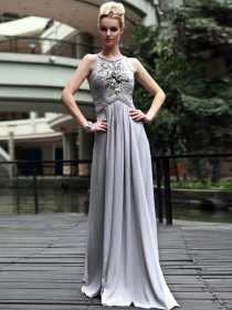 A-line Sleeveless Scoop Neckline Satin Appliques Evening Dress