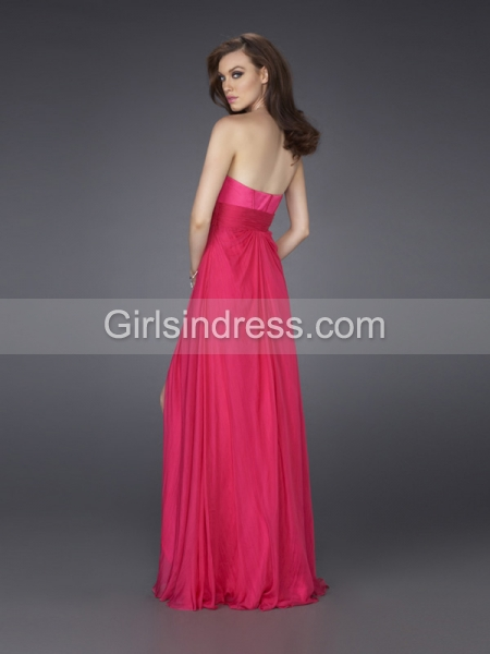 A-line Strapless Crystals Front Furcal Satin Evening Dress