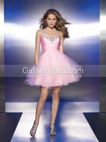Attractive Halter Beading Short Organza Graduation Dress