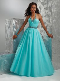 Ball Gown Beaded Jewel Floor-length Organza Engagement Dress
