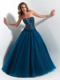 Ball Gown Strapless Organza Floor-length Beading Engagement Dress