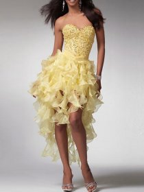 Charming Strapless Sweetheart Sequins Organza Homecoming Dress