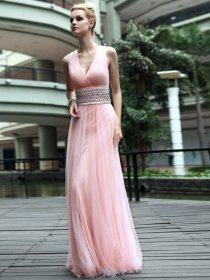 Charming Straps V-neck Beaded Satin Evening/Prom Dress