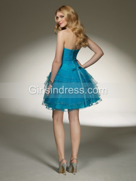 Elegant Sweetheart Beaded Cascading Ruffle Organza Graduation Dress