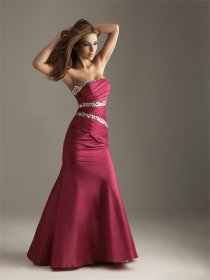 Fuchsia Satin Strapless Flooe-length Mermaid Prom Dress