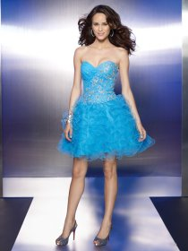 Gorgeous Cascading Ruffle Sweetheart Organza Graduation Dress