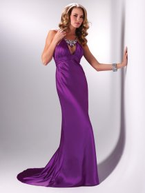 Gorgeous Jewel Beaded Satin Sheath/Column Prom Dress