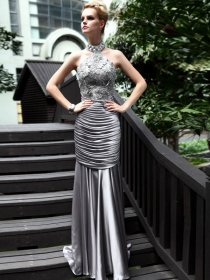 Graceful Column/Sheath Sleeveless Appliques Silk-like Satin Evening/Prom Dress